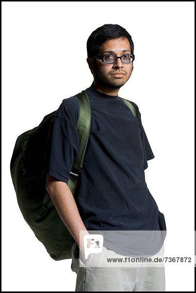 Maultasche  Rucksack  Portrait  Mann  tragen  jung