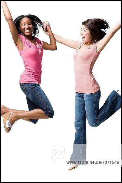 Frau  halten  springen  2