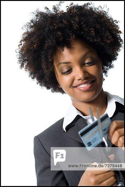 Schere  Geschäftsfrau  schneiden  Paar  Paare  Kredit  Kreditkarte  Karte