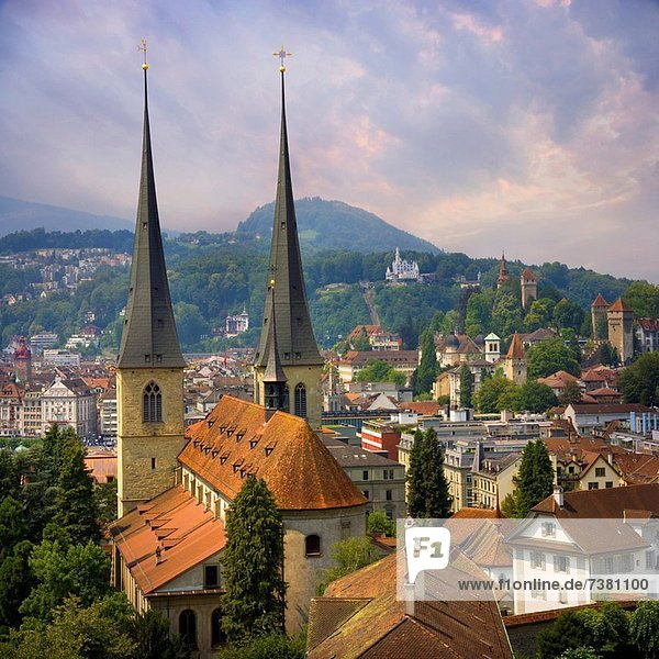 European city skyline aerial view