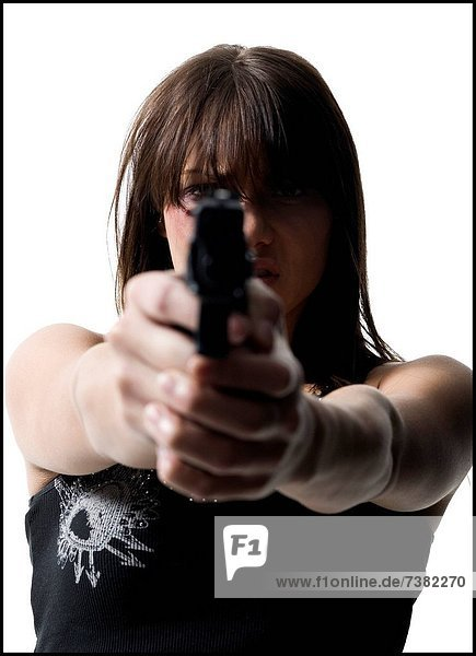 Violent woman with a handgun