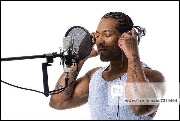 Mann  Gesang  amerikanisch  Mikrophon