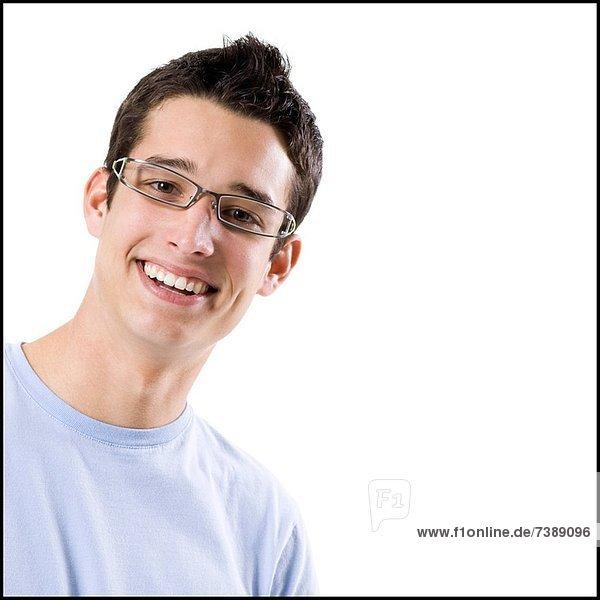 Mann  Hemd  blau  jung