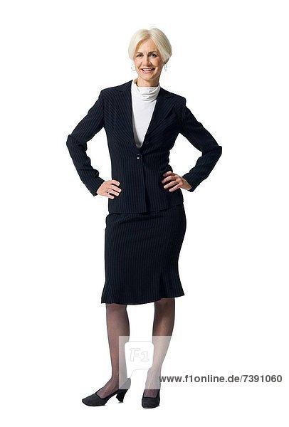 stehend  Geschäftsfrau  lächeln  reifer Erwachsene  reife Erwachsene