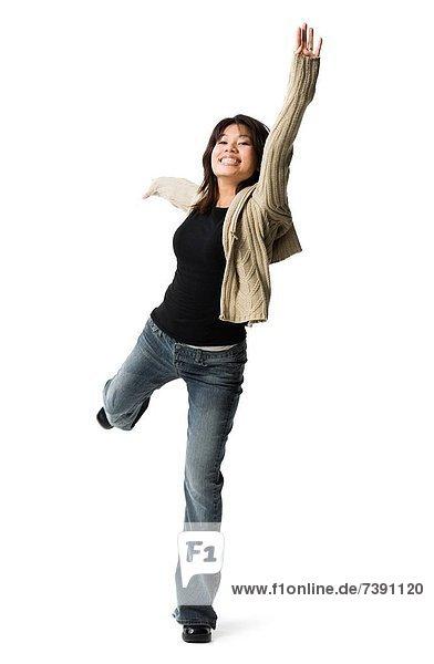 Frau  springen  Freizeitbekleidung  Kleidung