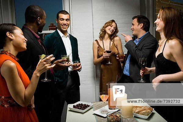 Partygoers toasting