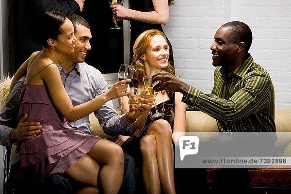 Partygoers socializing