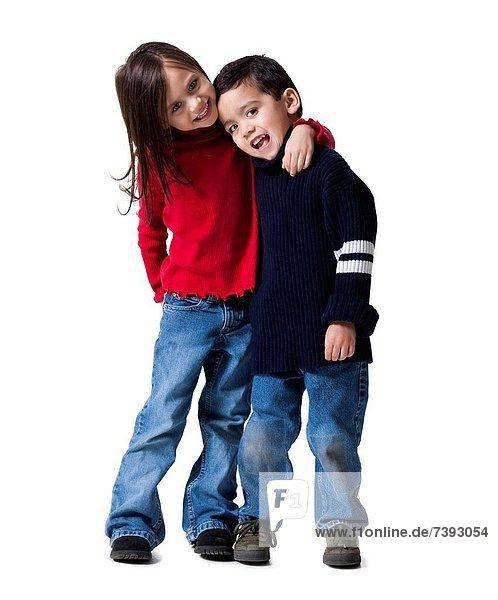 Kids embracing