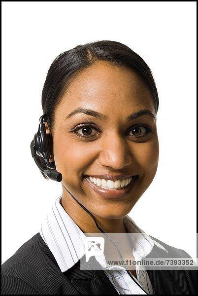 Portrait  Frau  lächeln  Headset