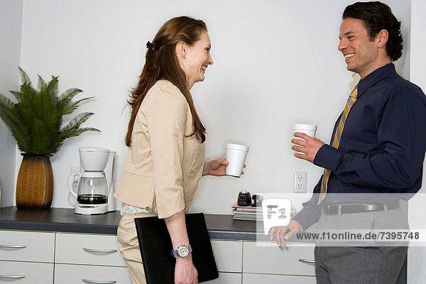 Profil  Profile  Geschäftsfrau  sprechen  Geschäftsmann