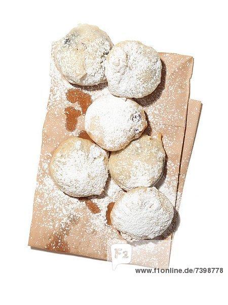 Studioaufnahme  Frische  Papier  Tasche  Zucker  Gesichtspuder  Donut  fettgebraten