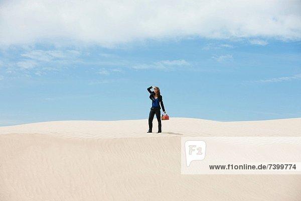 Vereinigte Staaten von Amerika  USA  stehend  Geschäftsfrau  tragen  Wüste  jung  Gas  Utah