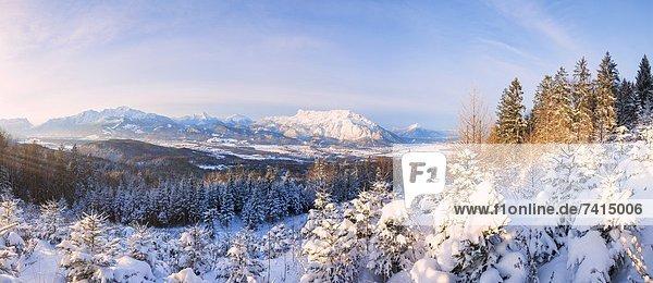 Blick zum verschneiten Untersberg  Berchtesgadener Alpen