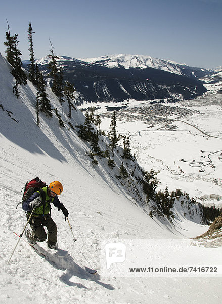 A man sking the Terminator Crested Butte  CO.