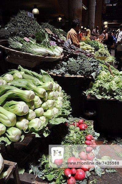 Port Louis  Hauptstadt  Gemüse  verkaufen  Mittelpunkt  Markt  Mauritius