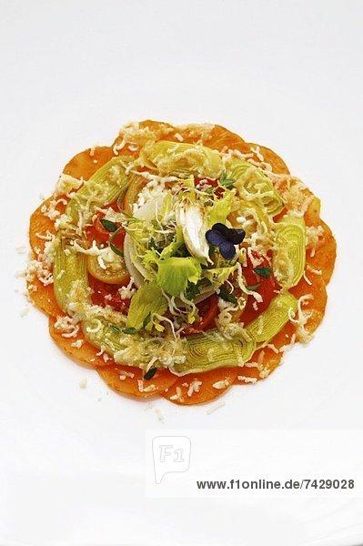 Käse Tomate Lauch Artischocke Cynara scolymus Gratin Ziegenkäse