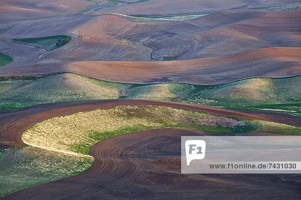 Luftaufnahme der hügeligen Landschaft