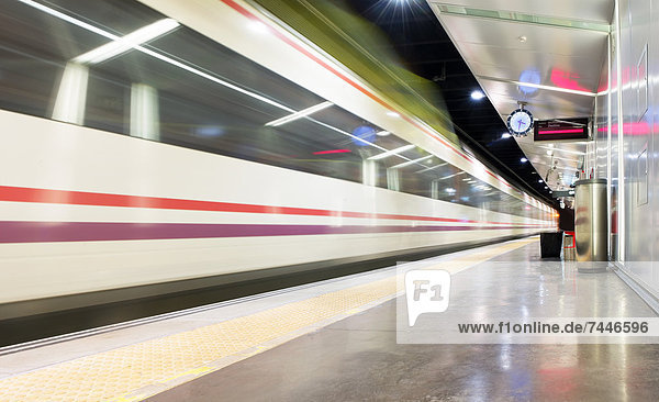 Train passing through a subway station in Malaga  Spain