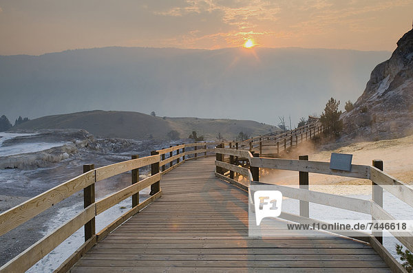 Boardwalk through Mammoth Hot Springs at sunrise in Yellowstone National Park  Wyoming