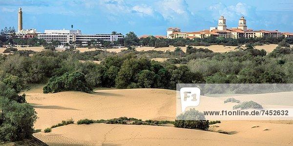 Maspalomas Lighthouse and sand dunes  Gran Canaria  Canary Islands  Spain