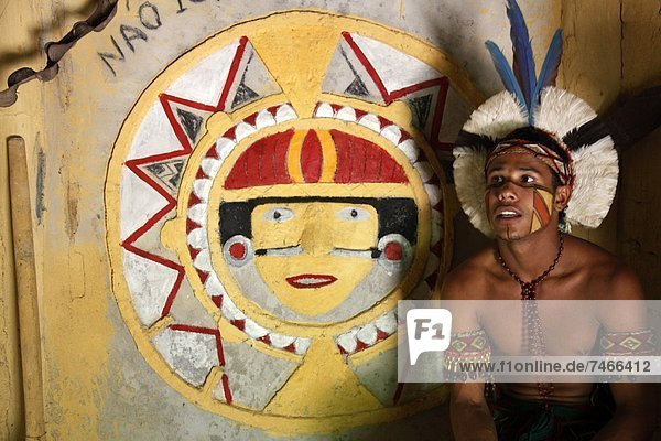 nahe Mensch Menschen Wohnhaus Indianer Bahia Brasilien alt Porto Südamerika