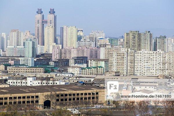 City apartment buildings  Pyongyang  Democratic People's Republic of Korea (DPRK)  North Korea  Asia