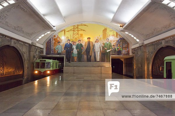 Punhung station  one of the many 100 metre deep subway stations on the Pyongyang subway network  Pyongyang  Democratic People's Republic of Korea (DPRK)  North Korea  Asia