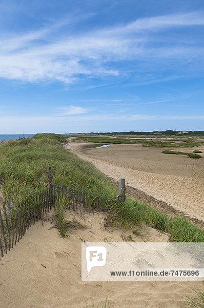 Wooden Fence on Beach  Provincetown  Cape Cod  Massachusetts  USA