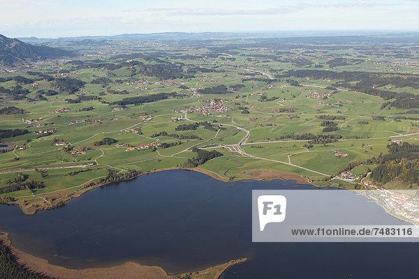Luftaufnahme  Hopfensee im Ostallgäu  Allgäu  Bayern  Deutschland  Europa