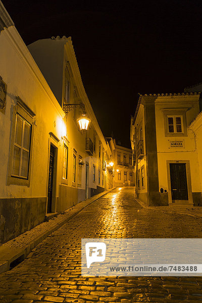 Old Town at night  Faro  Algarve  Portugal  Europe