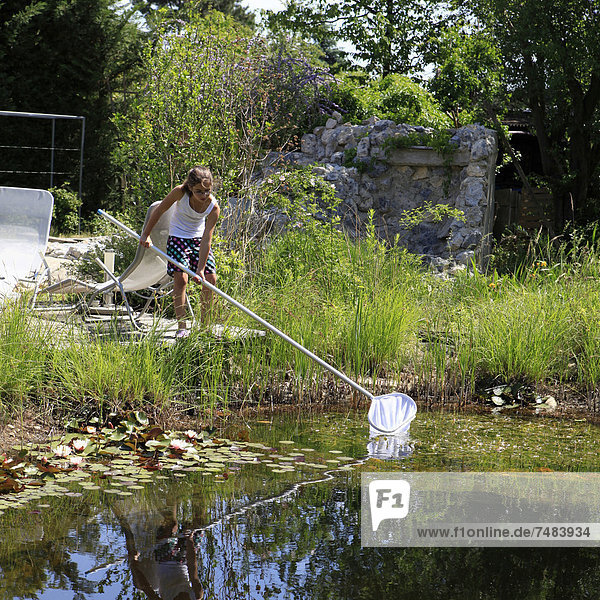 Garten Netz angeln Mädchen 11 Teich