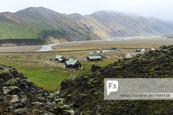 Campingplatz  Landmannalaugar  Island  Europa