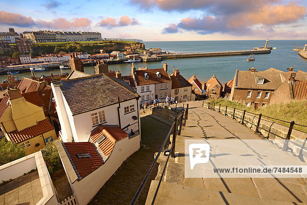 199 steps overlooking Whitby harbour  North Yorkshire  England  United Kingdom  Europe