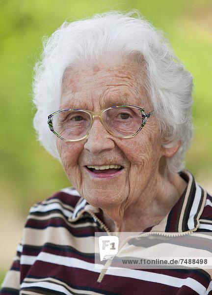Austria  Portrait of senior woman  close up