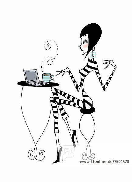 benutzen Frau Notebook Cafe Kaffee