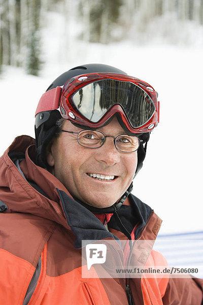 Portrait of Smiling Male Skier