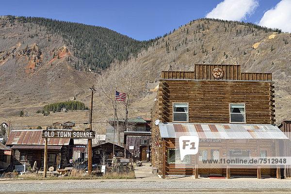 Historic buildings  Old Town Square  Silverton  Colorado  USA