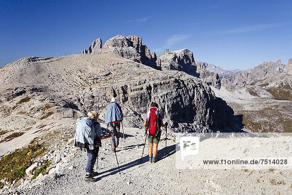 Wanderer auf dem Büllelejoch  hinten der Paternkofel und die Drei Zinnen Hütte  Hochpustertal  Sexten  Dolomiten  Südtirol  Italien  Europa