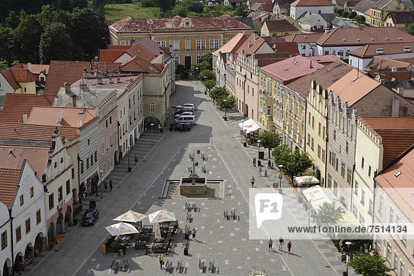 Market square  Slavonice or Zlabings  Moravia  Czech Republic  Europe