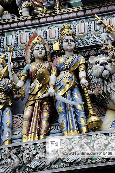 Figures at the entrance of a Hindu temple  Veerama Kaliamman Temple  Serangoon Street  in the Indian district  Little India  city centre  Singapore  Asia