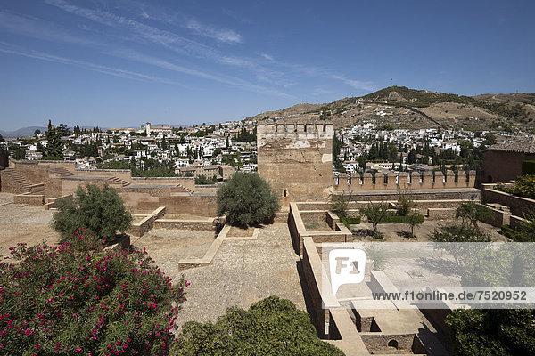 Alhambra mit Ausblick auf den Stadtteil Albayzin  UNESCO Welterbestätte  Granada  Andalusien  Spanien  Europa