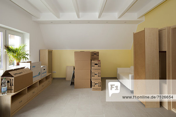 Wohnraum mit Umzugskartons