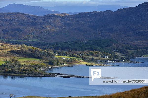 Europa Großbritannien über Fernverkehrsstraße Ansicht See Schottland