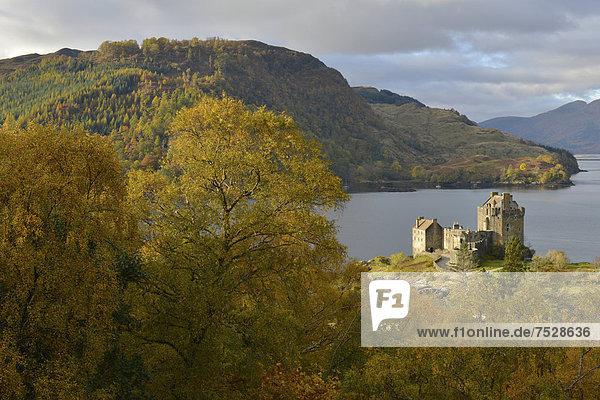 Eilean Donan Castle mit herbstlichem Wald  Stammsitz des schottischen Clans der Macrae  Loch Duich  Dornie  Northwest Highlands  Schottland  Vereinigtes Königreich  Europa