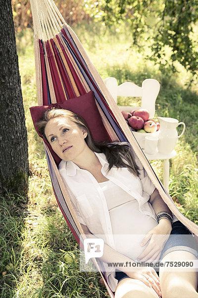 Schwangere Frau in einer Hängematte im Apfelgarten  Obstgarten
