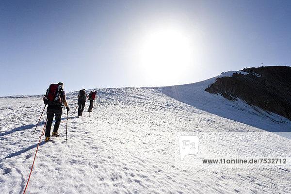 Wanderer beim Aufstieg zum Similaun auf dem Niederjochferner im Schnalstal  hinten der Similaun  Südtirol  Italien  Europa