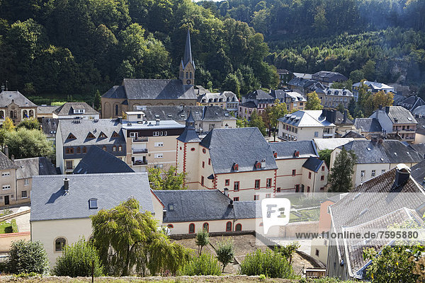 View over Larochette  Fels or Fiels  Grand Duchy of Luxembourg  Europe  PublicGround