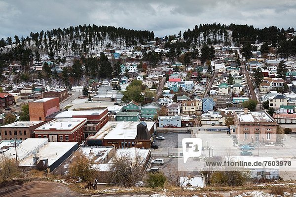 USA  South Dakota  Black Hills National Forest  Lead  elevated town view  early winter