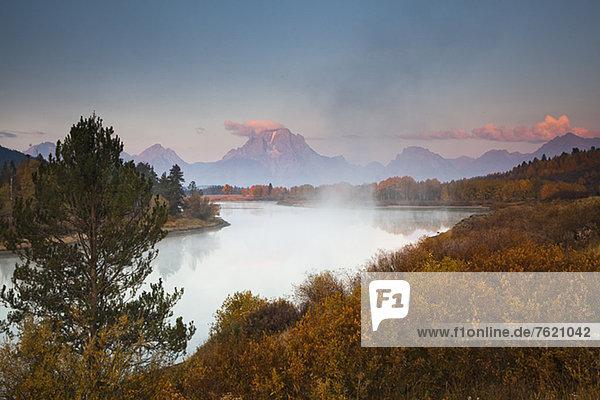 Nebel über dem Fluss in ländlicher Landschaft