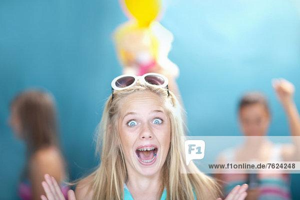 Teenage girl gasping